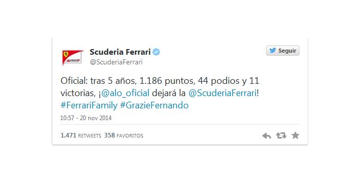 Ferrari comunica la partida de Fernando Alonso a través de Twitter