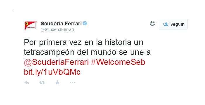 Ferrari anuncia el fichaje del tetracampeón del mundo en Twitter