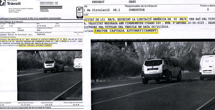 Multan una furgoneta por el exceso de velocidad del coche que le adelanta