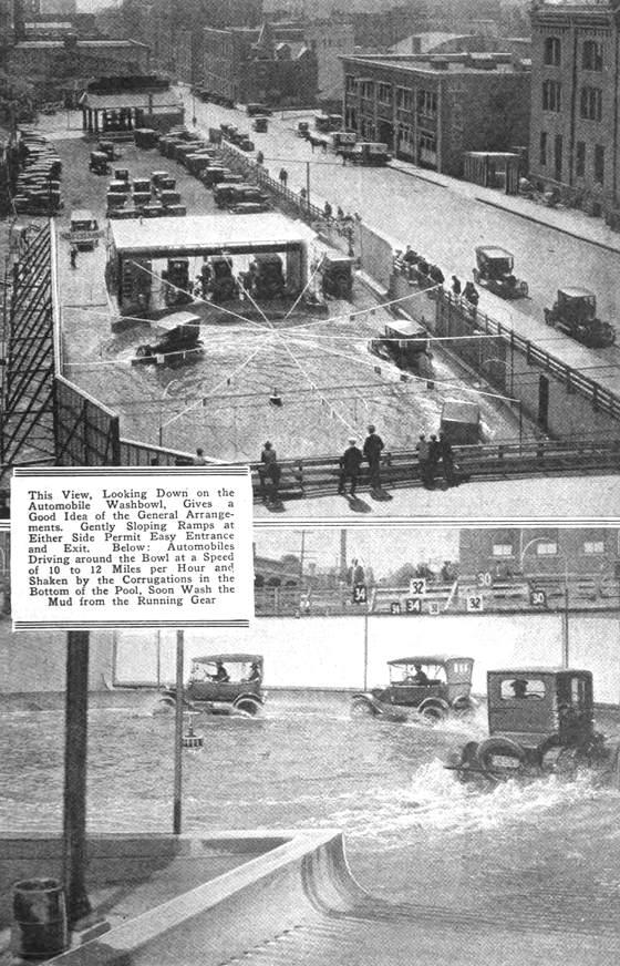 El primer autolavado de coches de la historia, una plaza llena de agua en Chicago en 1924