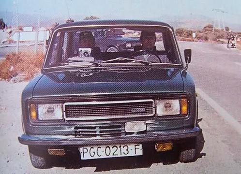 Radar de la Guardia Civil en una carretera en los 70, montado en un SEAT 124