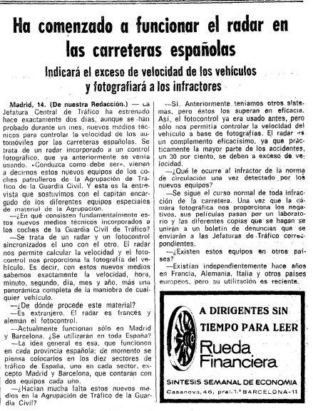 """Extracto de """"La vanguardia"""", donde se anuncia la puesta en marcha de los primeros radares"""