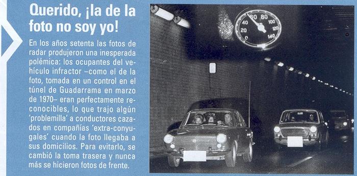 Foto de radar en el túnel de Guadarrama en 1970, foto tomada por delante del coche