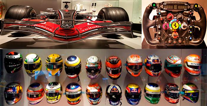 Los cascos de Fernando Alonso, su McLaren-Mercedes y el volante de su Ferrari.