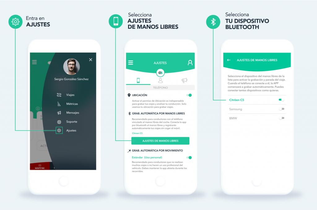 Cómo grabar viajes automáticamente con el manos libres del coche en la app DriveSmart