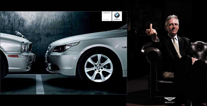 Giving the finger, daring videos, tampered images, great doses of irony and lots of intelligence are examples of the advertising wars between brands like Audi, Mercedes and BMW